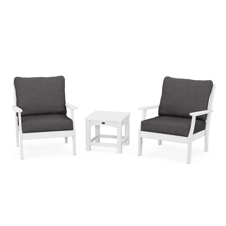 Yacht Club 3-Piece Deep Seating Set in Classic White / Ash Charcoal