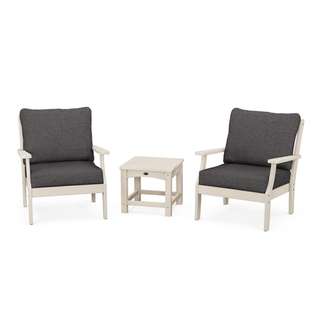 Yacht Club 3-Piece Deep Seating Set in Sand Castle / Ash Charcoal