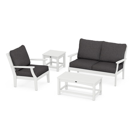 Yacht Club 4-Piece Deep Seating Set in Classic White / Ash Charcoal