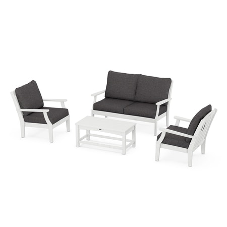 Yacht Club 4-Piece Deep Seating Chair Set in Classic White / Ash Charcoal
