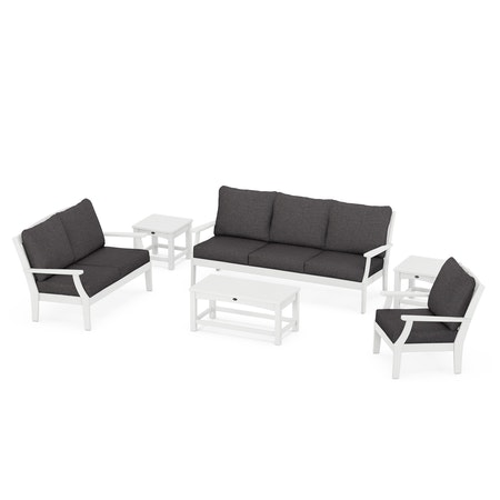 Yacht Club 6-Piece Deep Seating Set in Classic White / Ash Charcoal
