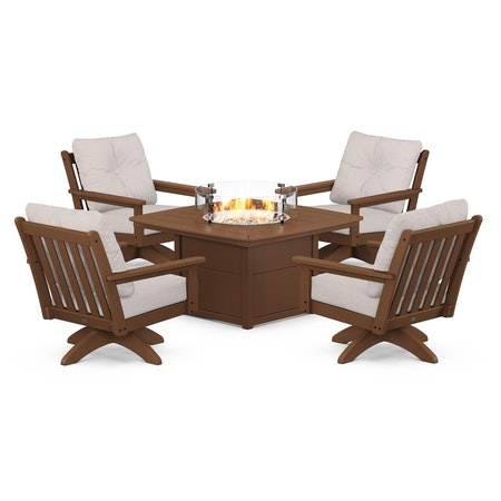 Vineyard 5-Piece Deep Seating Swivel Conversation Set with Fire Pit Table in Teak / Dune Burlap