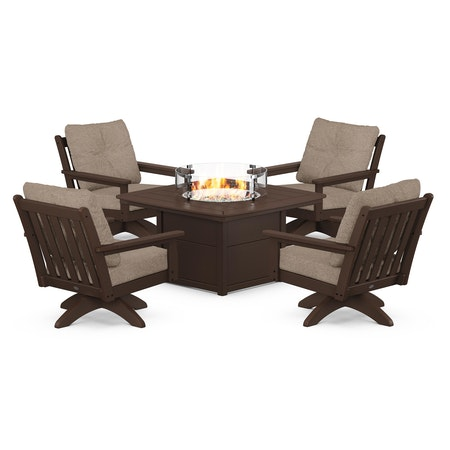 Vineyard 5-Piece Deep Seating Swivel Conversation Set with Fire Pit Table in Mahogany / Spiced Burlap
