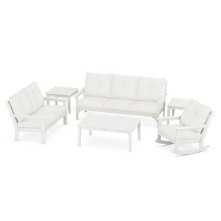 Vineyard 6-Piece Deep Seating Set in Vintage White / Natural Linen