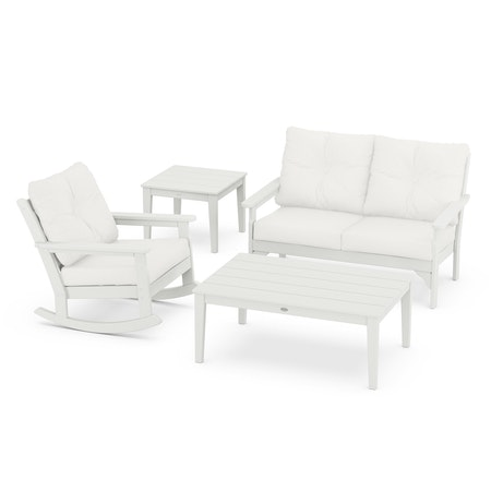 Vineyard 4-Piece Deep Seating Rocker Set in Vintage White / Natural Linen