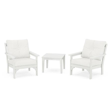Vineyard 3-Piece Deep Seating Set in Vintage White / Natural Linen