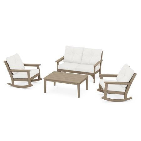 Vineyard 4-Piece Deep Seating Rocking Chair Set in Vintage Sahara / Natural Linen