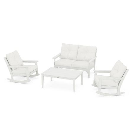 Vineyard 4-Piece Deep Seating Rocking Chair Set in Vintage White / Natural Linen
