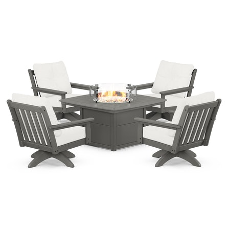 Vineyard 5-Piece Deep Seating Swivel Conversation Set with Fire Pit Table in Slate Grey / Natural Linen