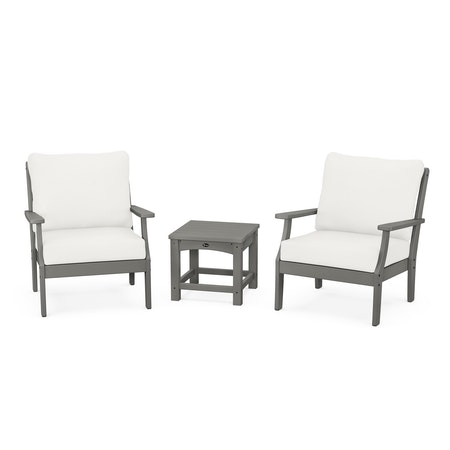 Yacht Club 3-Piece Deep Seating Set in Stepping Stone / Natural Linen
