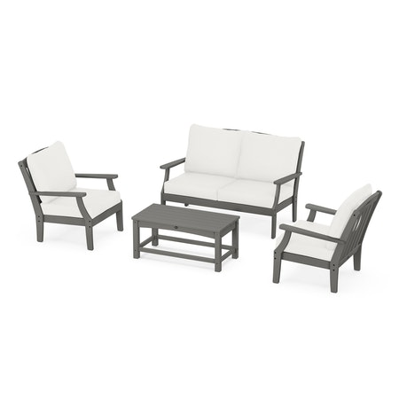 Yacht Club 4-Piece Deep Seating Chair Set in Stepping Stone / Natural Linen
