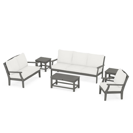 Yacht Club 6-Piece Deep Seating Set in Stepping Stone / Natural Linen