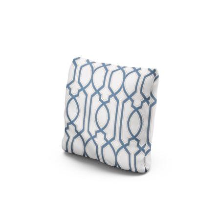 """16"""" Outdoor Throw Pillow in Chelsey Trellis Cobalt"""
