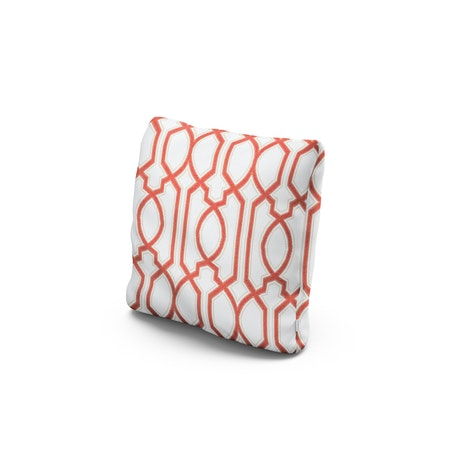 """16"""" Outdoor Throw Pillow by POLYWOOD® in Chelsey Trellis Coral"""
