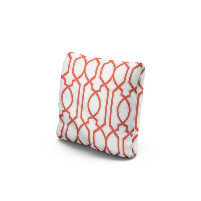 """16"""" Outdoor Throw Pillow in Chelsey Trellis Coral"""