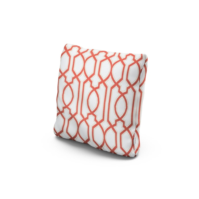 """18"""" Outdoor Throw Pillow in Chelsey Trellis Coral"""