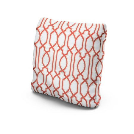 """22"""" Outdoor Throw Pillow in Chelsey Trellis Coral"""