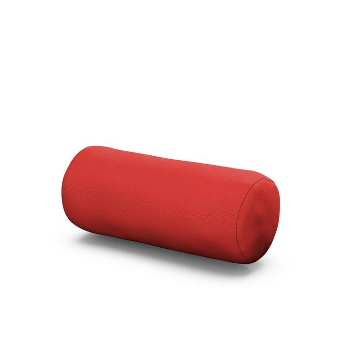 Outdoor Bolster Pillow in Crimson Linen