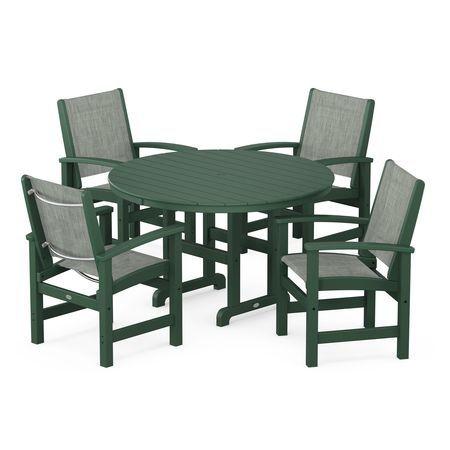 Coastal 5-Piece Dining Set in Green / Birch Sling