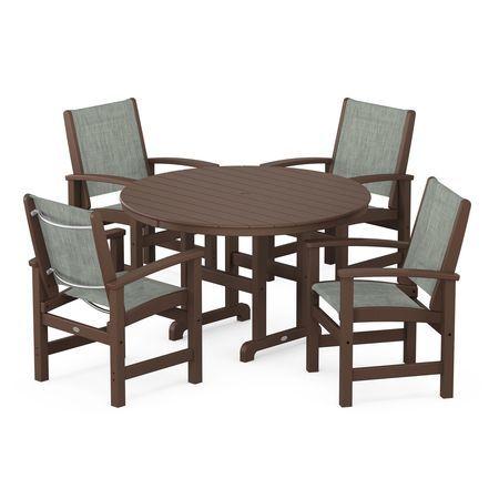 Coastal 5-Piece Dining Set in Mahogany / Birch Sling