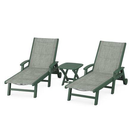 Coastal 3-Piece Wheeled Chaise Set in Green / Birch Sling