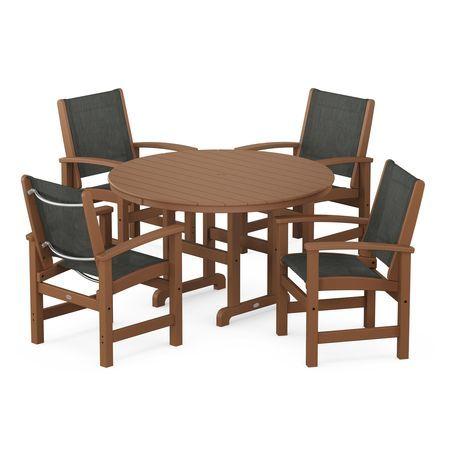 Coastal 5-Piece Dining Set in Teak / Ember Sling